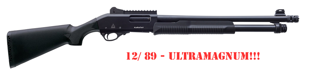 Mimoriadna špecialita z dielne prémiového výrobcu Akkar - Karatay Maxi-Mag v kalibri 12/89 - náboj dĺžky ULTRAMAGNUM 89mm. Akkar sa špecializuje na US a ruské trhy a zároveň robí aj pre talianske firmy. Tento model má 8+1 ranový zásobník, hlaveň má praktickú dĺžku 61cm, ciže nie je potrebné nákupné povolenie a je chokovateľná, 5ks chokov je v balení.