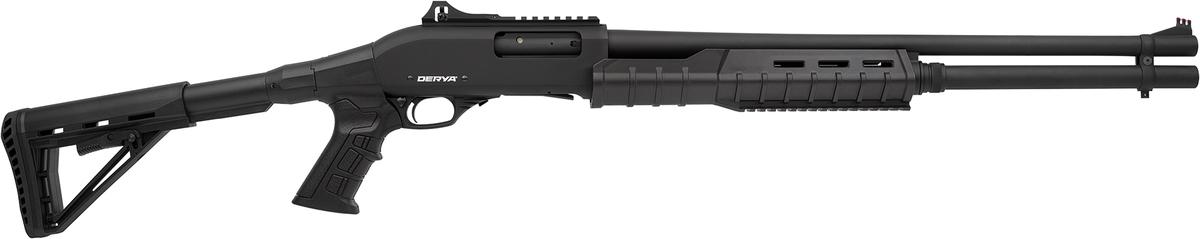 Nová edícia brokových púmp popredného výrobcu pušiek firmy Derya v kalibri 12/76, so zásobníkom  8+1 rán, hlavňou 61cm (netreba nákupné povolenie), 2x picatinny - zvrchu pre osadenie kolimátora a zo spodu pre laser alebo baterku, mäkká odpružená teleskopická pažba, svetlovodná muška, v balení spolu s 3x chokmi.