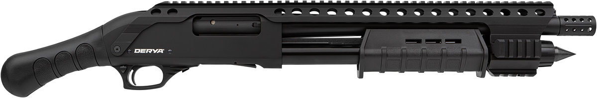 Derya je nie len popredným svetovým výrobcom brokovníc ale aj významným hráčom na poli dizajnu a inovácií. Dôkazom je aj nová Derya Carina QR - Equalizer. Brokovnica ako vystrihnutá z apokalyptického filmu. Polymérová rúčka aj predpažbie, rail po celej dĺžke pušky, skrývač plameňa, hlaveň 35cm, zásobník 4+1.