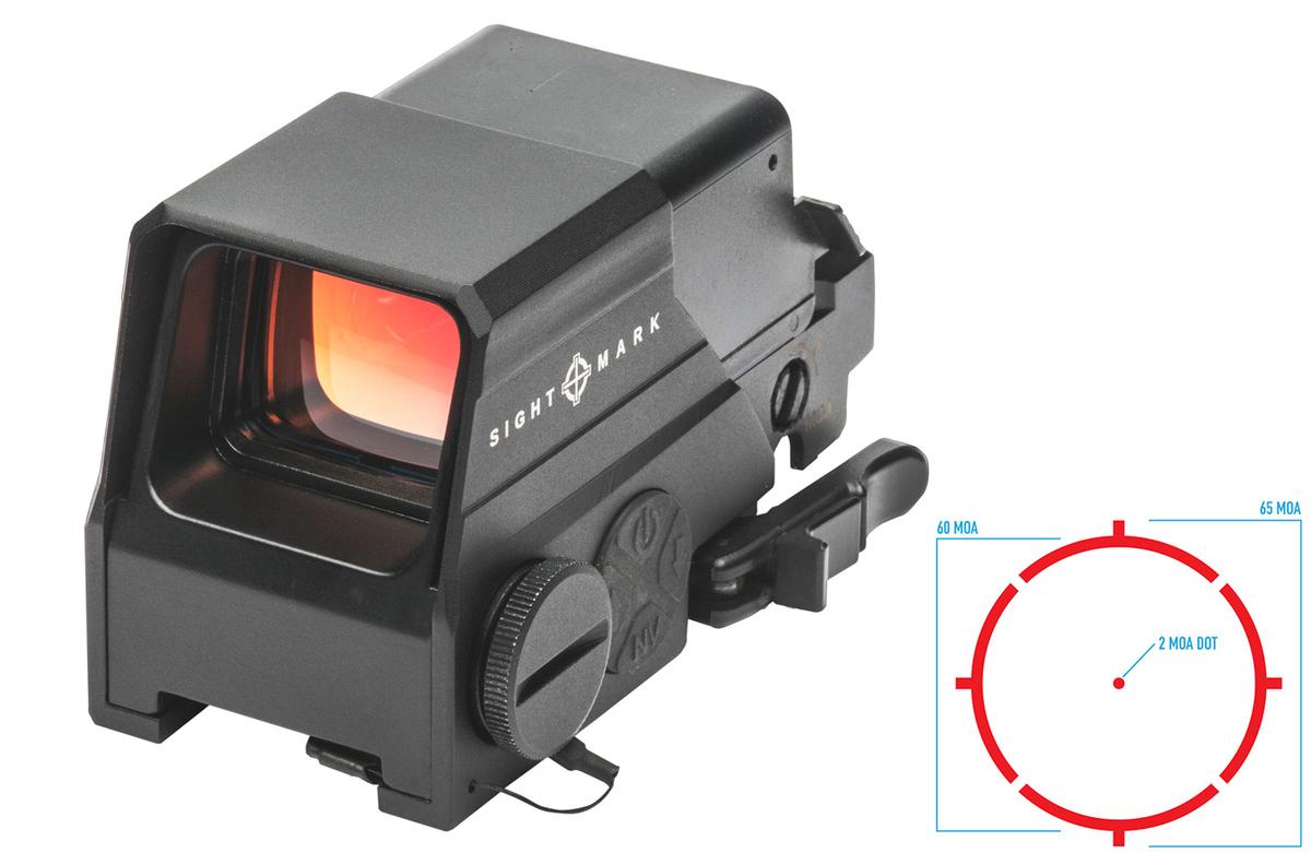 Najvyšší rad kolimátorov od Sightmark prináša množstvo vylepšení: podsvietený kruh 60MOA s 2MOA bodkou v strede, svietivosť nastaviteľná v 10 krokoch + 2 nastavenia pre použitie s nočným videním. Telo je z najpevnejšieho leteckého duralu 6061-T6, hodnotený IP68 - odolný voči pádom z 5m výšky, použiteľný až do kalibru .50BMG, vodotesný do 12m, integrované vyťahovateľné tienidlo, antireflexna optika so špeciálnou úpravou proti poškriabaniu s rozmermi 33x24mm, aktivuje sa pohybom, indikátor slabej batérie, automatické vypnutie po 12 hodinách, rýchloupínací mechanizmus. Napájané jednou CR123 batériou vydrží 200-2000 hodín. Je možné objednať aj s fixným upevnením a v FDE pieskovej farbe.