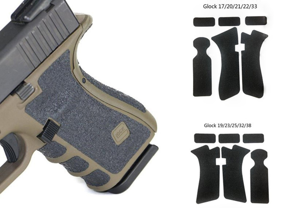 Nalepovací grip pre Glock 17 alebo 19 slúži k stabilnejšiemu uchyteniu pištole, ktorá sa nekĺže. Grip je robený zo zmesy gumy a polyméru, takže je príjemný na dotyk a ani po dlhšom používaní nereže dlane.