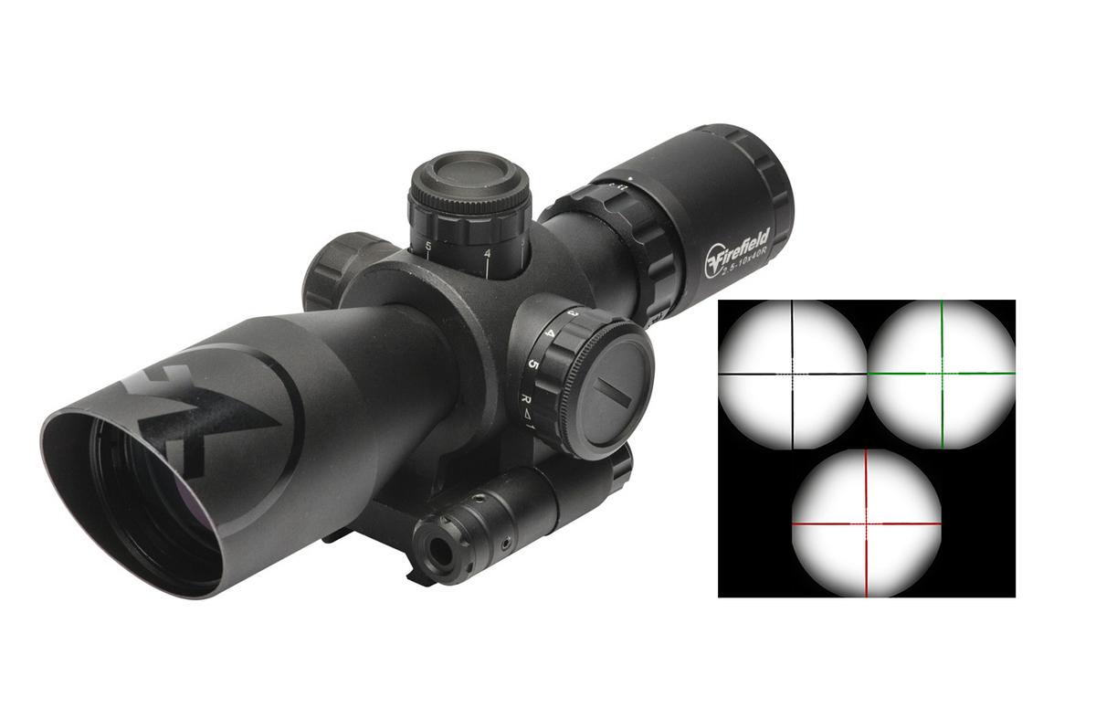 Firefield predstavuje kompaktnú optiku špeciálne navrhnutú a kalibrovanú pre AR-15 v kalibri .223REM. Veľký rozsah priblíženia 2,5-10x spolu s veľkým priemerom šošovky až 40mm ju robia jednou z najuniverzálnejších optík na trhu. Mnohovrstvová ochrana šošovky, pre krajší obraz, ktorá sa nezahmlieva. Osnova má zelené aj červené podsvietenie. Bez podsvietenia je osnova čierna. Odolnosť IPX4. Zabudovaný silný 5mw laser. Dĺžka 20cm, váha 530gramov.