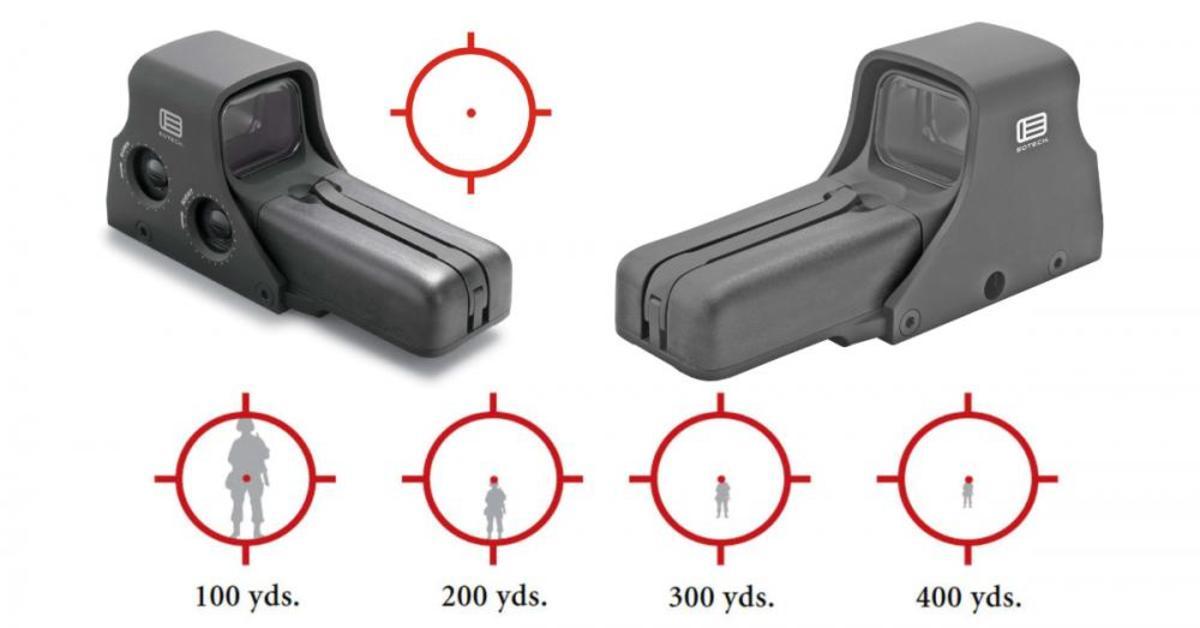 """Firma EOTech je známa svojím inovatívnym prístupom a najvyššou kvalitou. Holografické kolimátory na rozdiel od klasických používajú sústavu zrkadiel, ktoré vytvárajú 3D obraz osnovy (teda holografický), čo umožňuje bezprecedentnú čistotu obrazu a hĺbku ostrosti. Séria 5xx sa vyznačuje možnosťou použitia dvoch AA batérií a tým pádom svietivosťou až 1000 hodín. Osnova sa skladá z 68MOA krúžku a 1MOA bodky, kalibrované pre .223REM. Podsvietenie sa nastavuje v 20 krokoch. V ponuke máme 3 modely, ktoré majjú všetko spomínané a odlišujú sa v detailoch - 512 má standardné uchytenie na """"skrutku"""", ovládanie vzadu, je nekompatibilný s približovacím modulom G33 a stojí 580€. Model 518 má ovládanie z ľavej strany, rýchloupínanie, ktoré ho vyvyšuje, čo zlepšuje možnosť jednej roviny s mieridlami a zároveň umožňuje kombináciu s približovacím modulom G33, je o 70g ťažší ako 512 v cene 675€. Model 552 je rovnaký ako 512, ale s nastaveniami pre nočné videnie. Cena 745€"""