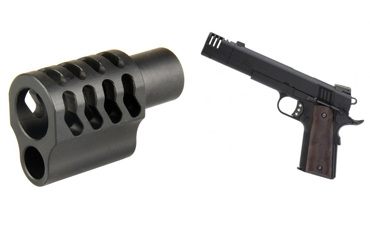 Kvalitná úsťová brzda vhodná pre všetky pištole typu 1911 s rovnakým rozoberacím mechanizmom vpredu ako klasický Colt, vyrobená z leteckého duralu. Pre pištole kalibru .45ACP. Je možné namontovať aj na pištole kalibru 9x19mm Luger, kde bude účinok menší. Inštalácia je veľmi jednoduchá, netreba na ňu žiadne zvláštne zručnosti, ani nástroje.