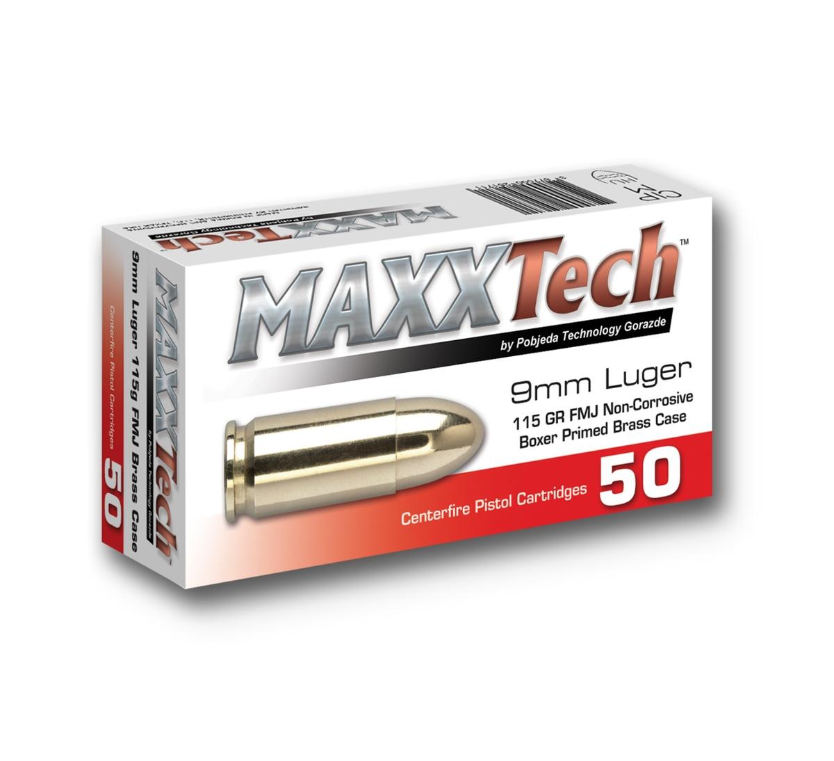 Kaliber: 9mm, váha: 115 Grains, celoplášťový projektil FMJ, úsťová rýchlosť: 340 m/s, úsťová energia: 438 J