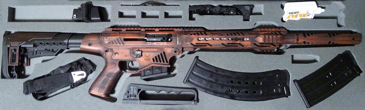 """Najvyšší rad brokovníc DeXter - poloautomatická brokovnica s ovládaním v štýle AR-15. Aj sa ľahko rozoberá na 2 kusy cez 2 kolíky ako AR-15, hliníkové prevedenie, teleskopická a sklápacia pažba, unikátny terakotový nástrek zaručuje jedinečnosť každého kusu. Máme 5 farebných prevedení - """"ošúchaná"""" červená (na obr.), pieskovo-zlatá, tmavozelená, zelená kamufláž a šedo-čierna kamufláž. Balenie obsahuje aj kufor, zasobniky 2 + 5 + 9 ranové, olej, nastroj na rozoberanie a popruh."""